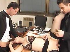 Anal, Brunette, Double Penetration, Secretary