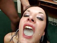 Brunette, Bukkake, Cumshot, Facial